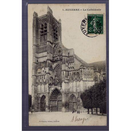 Carte postale 89 - Auxerre - la Cathedrale - Voyage - Dos divise