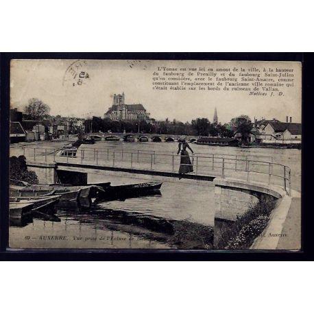 Carte postale 89 - Auxerre - Vue prise de l'ecluse - Voyage - Dos divise