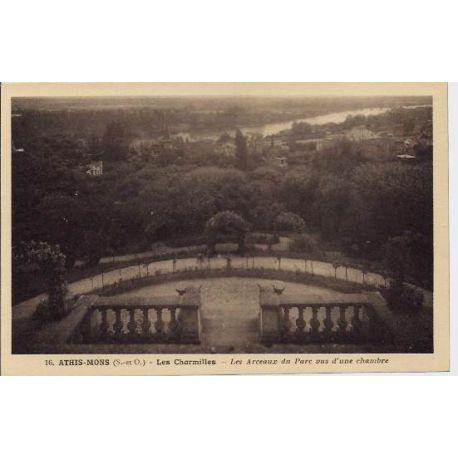 Carte postale 91 - Athis-Mons - Les charmilles - Les arceaux du parc vus d'une chambre - Non