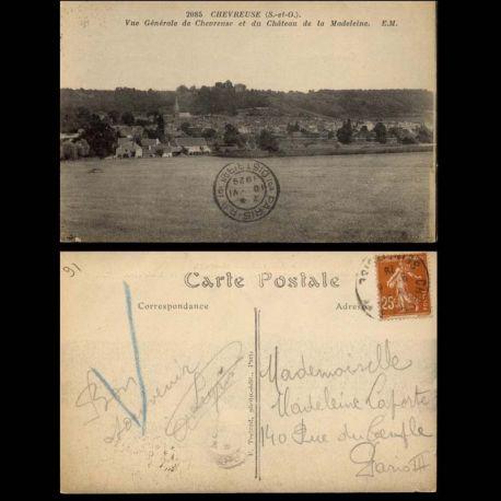 Carte postale 91 - Chevreuse - Vue generale de Chevreuse et chateau de la Madeleine