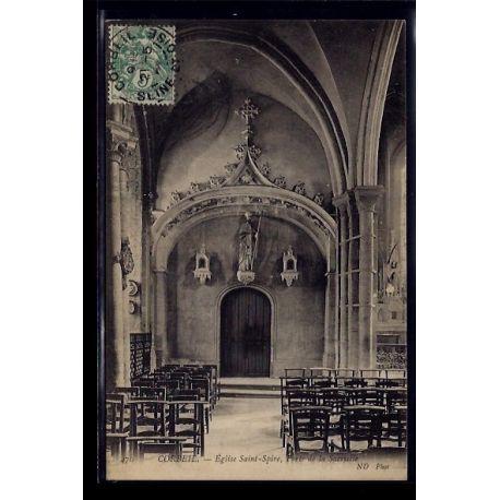Carte postale 91 - Corbeil - Eglise St-Spire - porte de la Sacristie - Voyage - Dos divis