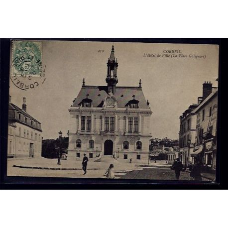 Carte postale 91 - Corbeil - l' Hotel de Ville - la Place Galignari - Voyage - Dos divise