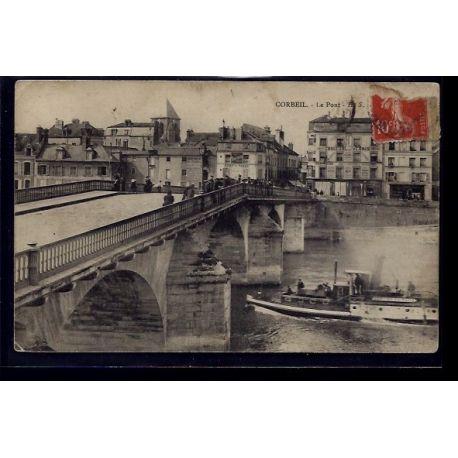 Carte postale 91 - Corbeil - Le Pont - Voyage - Dos divise