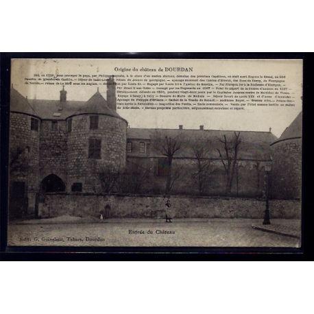 Carte postale 91 - Dourdan - Entree du chateau - Voyage - Dos divise