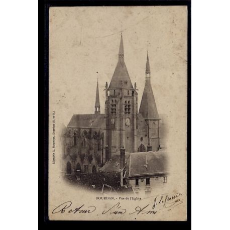 Carte postale 91 - Dourdan - vue de l' eglise - Voyage - Dos non divise