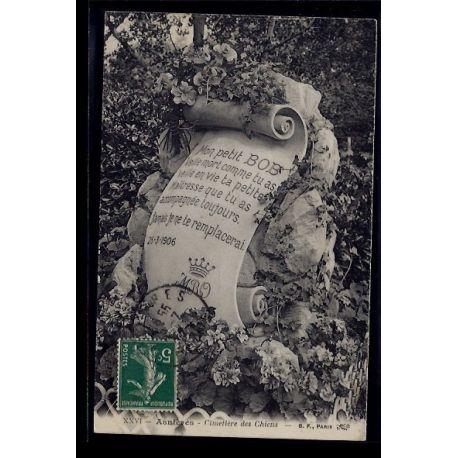 Carte postale 92 - Asnieres - cimetiere des chiens - Voyage - Dos divise