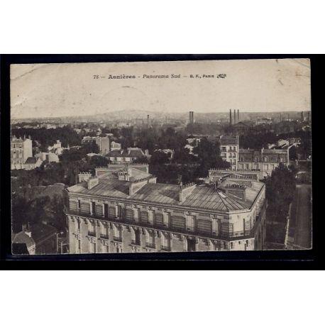 Carte postale 92 - Asnieres - Panorama Sud - Voyage - Dos divise