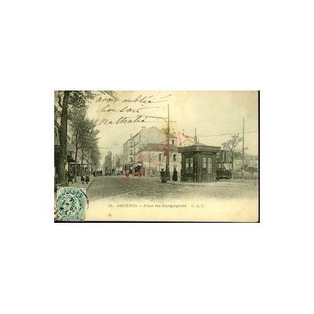 Carte postale 92 - ASNIERES - PLACE DES BOURGUIGNONS - TRAMWAYS