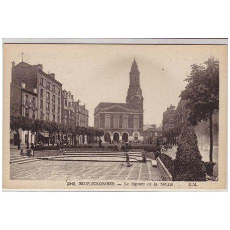 Carte postale 92 - Bois Colombes - Le square et la mairie
