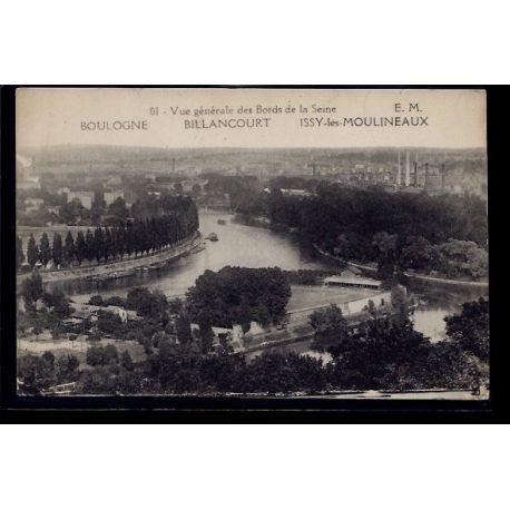 Carte postale 92 - Boulogne Billancourt - Issy les Moulineaux - vue generale des bords d