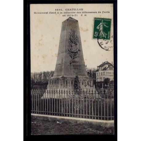 Carte postale 92 - Chatillon - Monument eleve a la memoire des defenseurs de Paris en 187