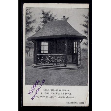 92 - Clichy - Constructions rustiques - Non voyage - Dos divise