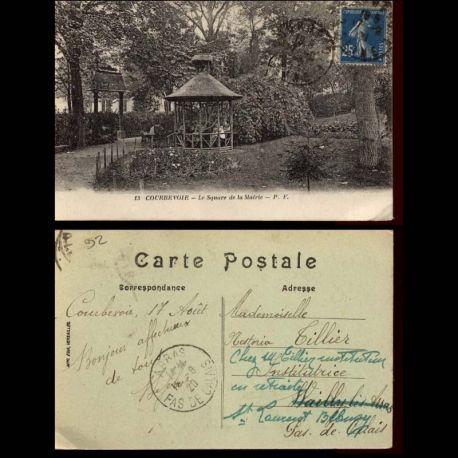 Carte postale 92 - Courbevoie - Le square de la Mairie