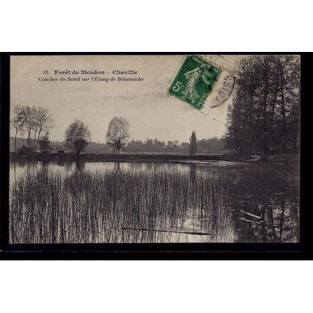 Carte postale 92 - Foret de Meudon - Chaville - coucher du soleil sur l' etang de Brisemi