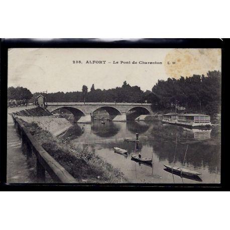 Carte postale 94 - Alfort - le pont de Charenton - Voyage - Dos divise