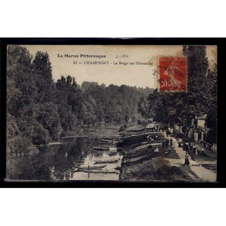 Carte postale 94 - Champigny - la Berge un dimanche - Voyage - Dos divise