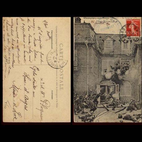 Carte postale 94 - Champigny sur Marne - 1870-1871 - La surprise