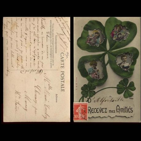 Carte postale 94 - D'Alfortville recevez mes amities - Trefle a 4 feuilles