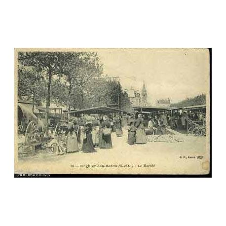 Carte postale 95 - Enghien les Bains - Le marche