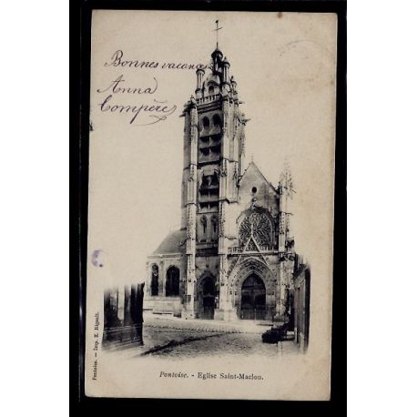 Carte postale 95 - Pontoise - Eglise St-Maclou - Voyage - Dos non divise