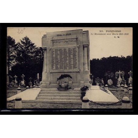 Carte postale 95 - Pontoise - Le Monument aux morts 1914-1918 - Voyage - Dos divise