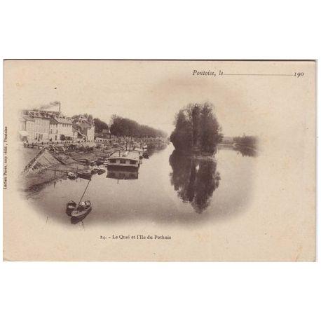Carte postale 95 - Pontoise - Le quai et l'ile du Pothuis