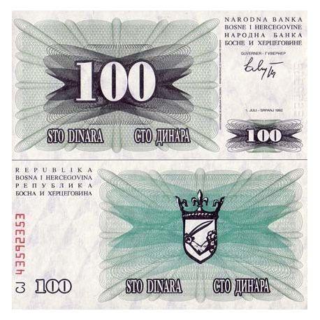 Billets de collection Billet de banque Bosnie Pk N° 13 - 100 Dinara Billets de Bosnie 1,50 €