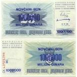 Los billetes de banco Bosnia Pick número 35 - 1000000 Dinara 1993