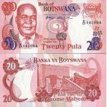 Los billetes de banco Botswana Pick número 21 - 20 Pula 1999