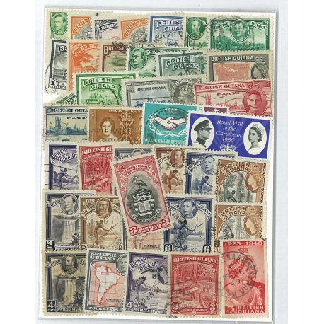 Collection de timbres Guyane Britannique oblitérés