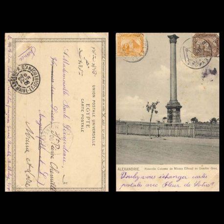 Egypte - Alexandrie - Nouvelle colonne de Minasa Effendi au quartier grec - 1906