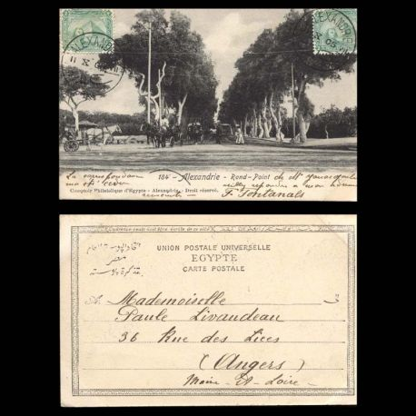 Egypte - Alexandrie - Rond-Point - 1905 - Caleches - Animee