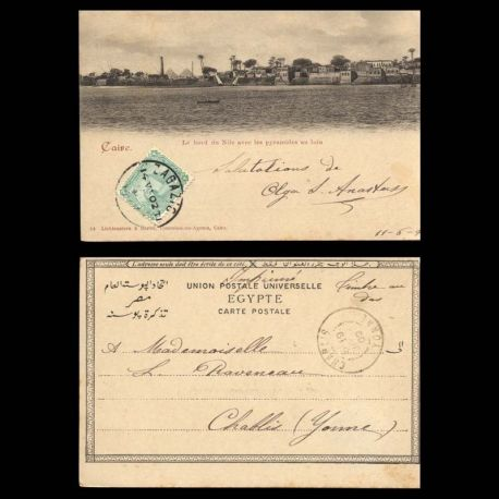 Egypte - Bord du Nil avec les pyramides au loin - 1902