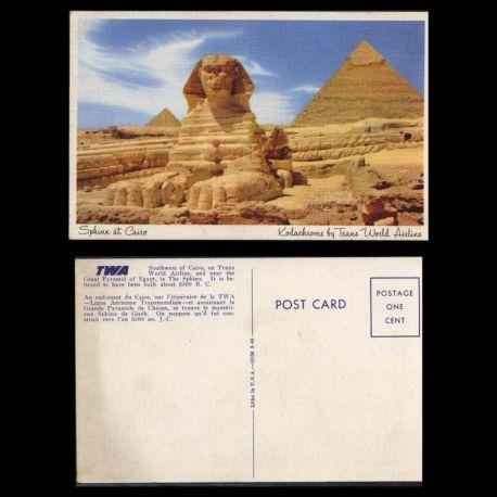 Egypte - Carte de la TWA - Le Caire - Le sphinx