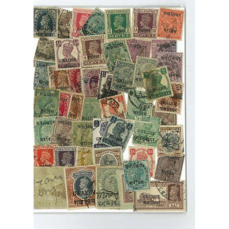 Collection de timbres Gwalior oblitérés