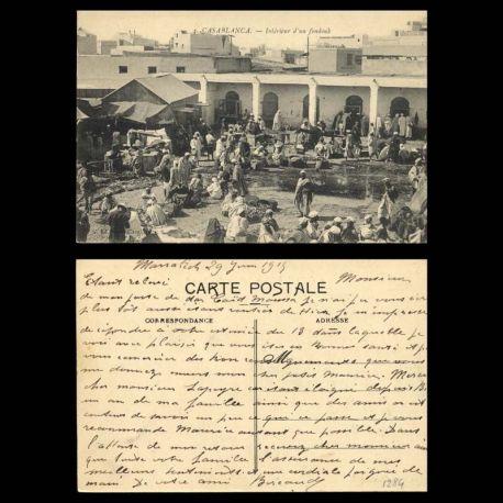 Maroc - Casablanca - Interieur d'un fondouk - Tres animee