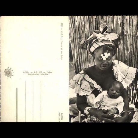 Senegal - Jeune femme et son bebe - CPSM