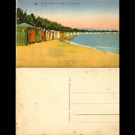 Tunisie - Bizerte - La plage - Les cabanons