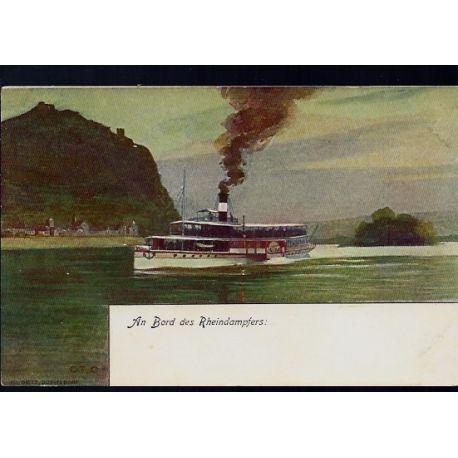 Allemagne - An bord des Rheindampfers - Rhein Dampfschiffahrt Kolnische und Dusseldorfer Gesellschaft
