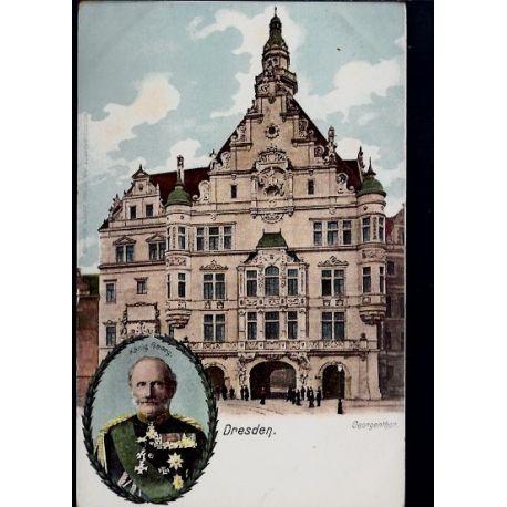 Allemagne - Dresden - Konig Georg. en medaillon - Georgenthor