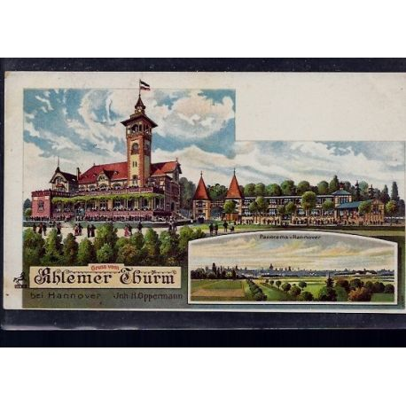 Allemagne - Gruss vom Ahlemer Thurm bei Hannover - Panorama Hannover - Litho par Oppermann - Carte coupe en bas sur 1cm