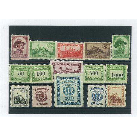 Hongrie - 15 timbres différents