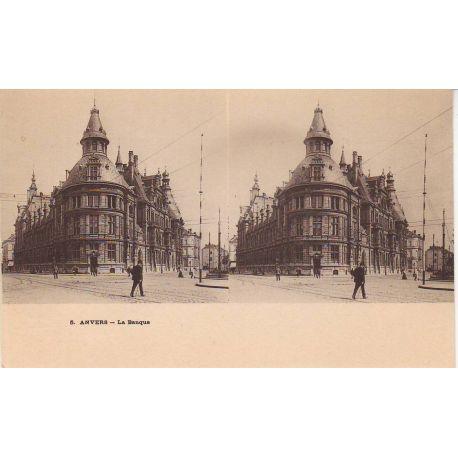 Belgique - Anvers - La banque - Vue stereoscopique
