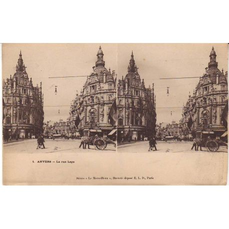 Belgique - Anvers - La rue Leys Vue stereoscopique