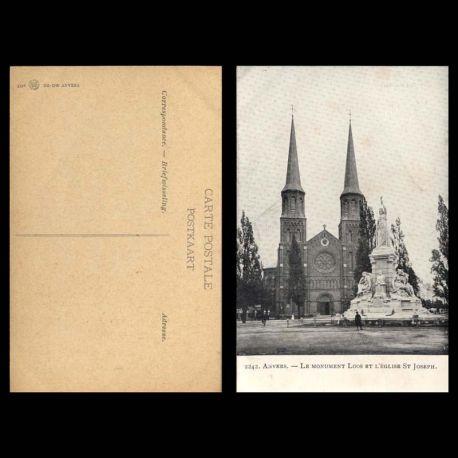 Belgique - Anvers - Le monument Loos et l'eglise St Joseph