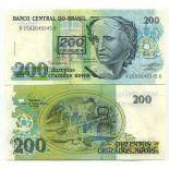 Los billetes de banco Brasil Pick número 225 - 200 Cruzeiro 1990
