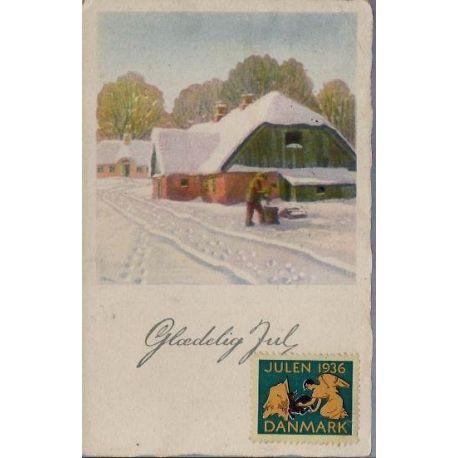 Danemark - Joyeux Noel - Vignette Noel 1936