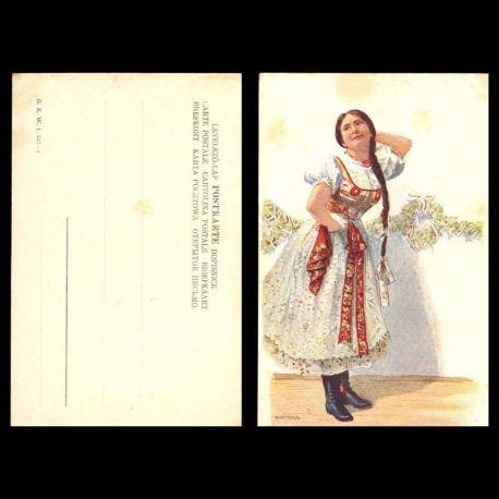 Hongrie - Folklore et costume - Jeune femme en costume