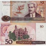 Los billetes de banco Brasil Pick número 210 - 50 Cruzeiro 1986