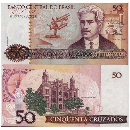 Billets de collection Billets banque Bresil Pk N° 210 - 50 Cruzados Billets du Bresil 2,00 €
